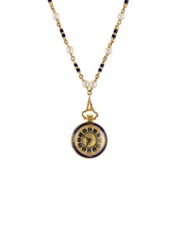 Colier vintage cu ceas Apex din aur de 18k, email cobalt si perlute naturale