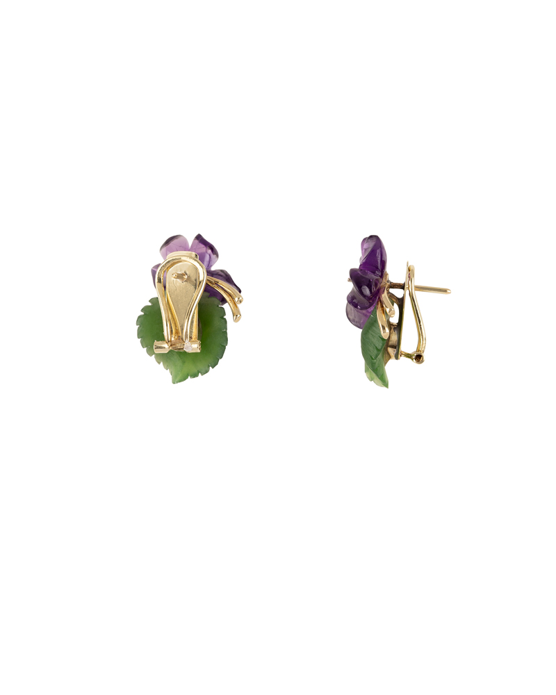 Cercei din aur de 14k cu diamante si toporasi sculptati in ametist si jad natural