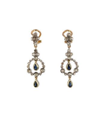 Cercei vintage din aur de 18k cu safire si diamante naturale